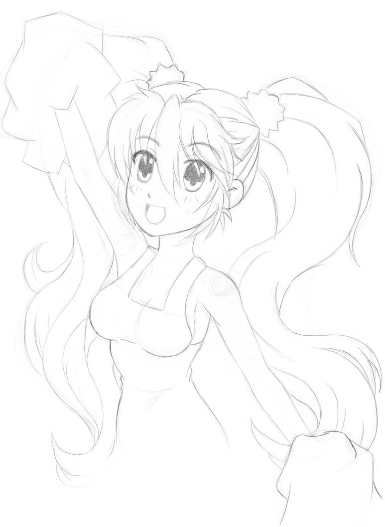 Sketch of Amy Aruha from Grand Chase as a cheerleader