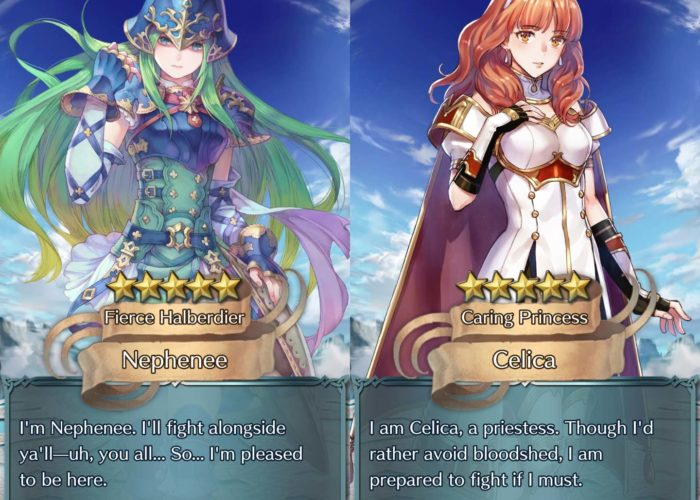 Nephenee and Celica summon in Fire Emblem Heroes